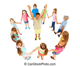 Kids greeting each other in different languages group of seven asian boy in circle of other kids m4hsunfo