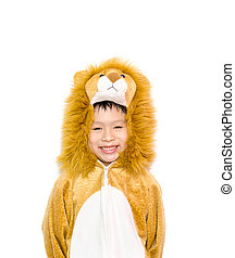 Asian boy in lion costume isolated on white