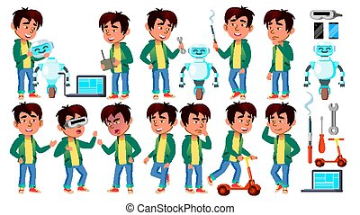 Asian Boy Kid Poses Set Vector. Build Robot Helper. Primary School Child. For Presentation, Invitation, Card Design. Isolated Cartoon Illustration