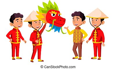 Asian Boy Kindergarten Kid Poses Set Vector. Festival, Dragon. Little Children. Happiness Enjoyment. For Web, Brochure, Poster Design. Isolated Cartoon Illustration