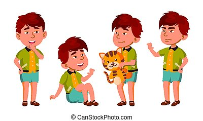 Asian Boy Kindergarten Kid Poses Set Vector. Friendly Little Children. Cute, Comic. For Web, Brochure, Poster Design. Isolated Cartoon Illustration
