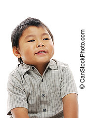 Asian boy laughing