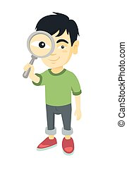 Asian boy looking through a magnifying glass.