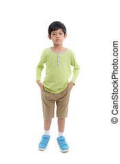 Asian boy on white.