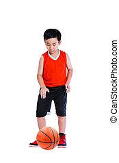 Asian boy playing basketball. Isolated on white background.