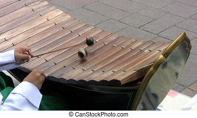 Asian Boy Playing Wooden Xylophone - A young Thai boy plays...