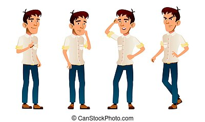Asian Boy Poses Set Vector. High School Child. White Shirt. Teenage. Workspace. For Web, Brochure, Poster Design. Isolated Cartoon Illustration