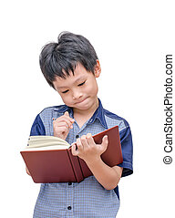 Asian boy reading a book over white background