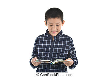 Asian boy reading at book on white background with copyspace.