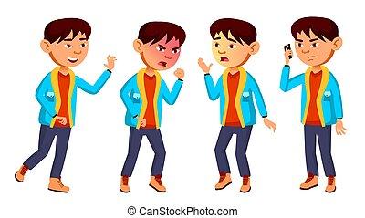 Asian Boy Schoolboy Kid Poses Set Vector. Primary School Child. Friendship. For Web, Brochure, Poster Design. Isolated Cartoon Illustration