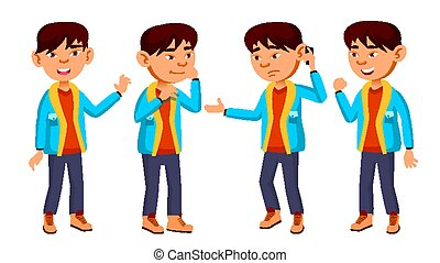 Asian Boy Schoolboy Kid Poses Set Vector. Primary School Child. Funny Children. Junior. Lifestyle, Friendly. For Advertising, Booklet, Placard Design. Isolated Cartoon Illustration