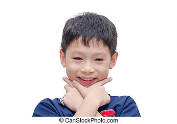 boy smiles over white