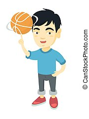 Asian boy spinning basketball ball on finger.