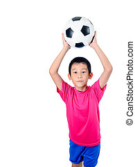 Asian boy throwing ball.