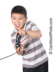 Asian boy with a joystick playing video games, isolated on white background