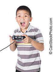 Asian boy with a joystick playing video games, isolated on white