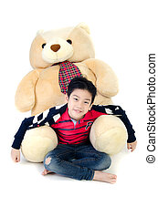 Asian boy with baby big dall