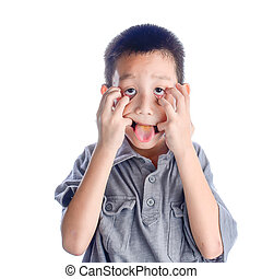 Asian boy with funny face