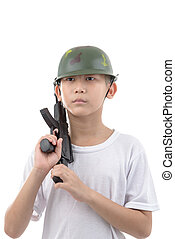 Asian boy with gun isolated on white background
