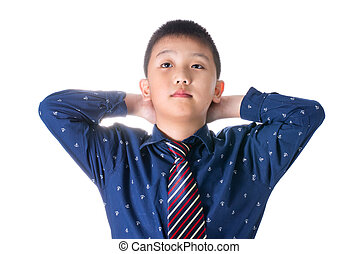 Asian boy with necktie, isolated on white background