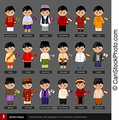 Asian boys in national dress.
