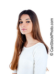 asian brunette indian woman with long hair portrait