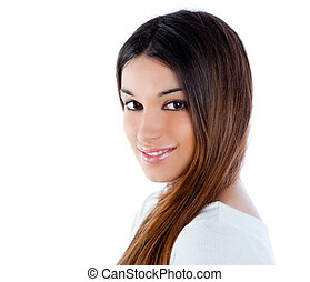 Asian brunette Indian woman with long hair