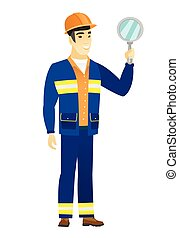 Young asian builder holding hand mirror. Full length of builder looking at himself in a hand mirror. Builder with hand mirror. Vector flat design illustration isolated on white background