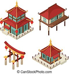 Asian buildings isometric. Chinese gate traditional japanese...