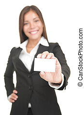 Asian Business card woman isolated