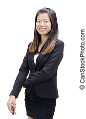 asian business girl with isolated white background