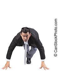 asian business man acting like runner athlete in start...