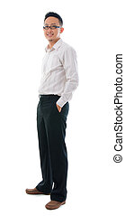 asian business man full body isolated on white