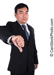 asian business man going thumbs down. Isolated on white backgrou