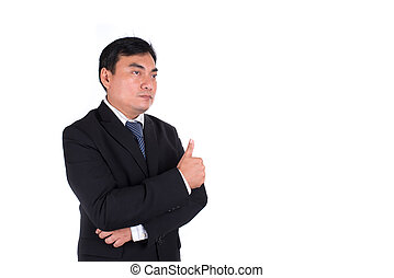asian business man going thumbs up. Isolated on white background