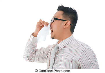 asian business man having a flu
