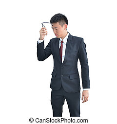 Asian Business man is bored standing isolated on white background, clipping path inside