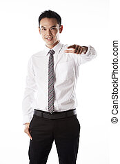 Asian business man pointing finger