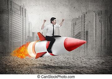 Asian business man riding rocket