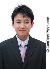 asian business man with friendly smile - Face of asian...