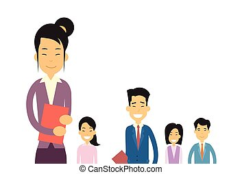 Asian Business People Group Flat Vector Illustration