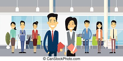 Asian Business People Group In Modern Office Flat Vector Illustration