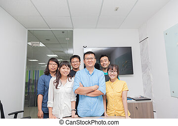 Asian business people group team leader boss