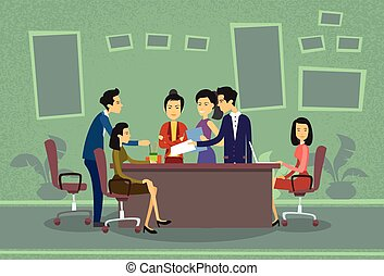 Asian Business People Meeting Discussing Office Desk Businesspeople Working Flat