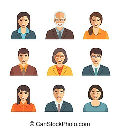 Asian business people simple flat vector avatars set
