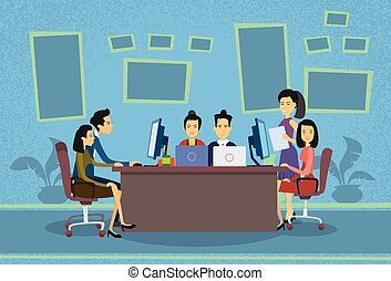Asian Business People Working Computer Meeting Discussing Office Desk Businesspeople Flat