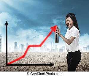 Asian business person, spray making arrow sketch