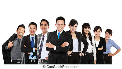 Group portrait of a attractive professional business team looking at camera. isolated over white background