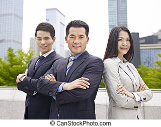 asian business team - outdoor portrait of an asian business...