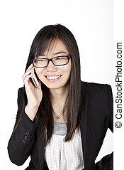Asian business woman calling phone